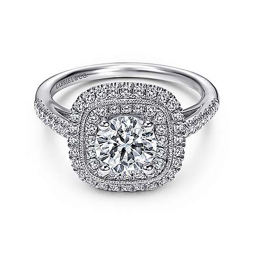 Gabriel - Antoinette 14k White Gold Round Double Halo Engagement Ring