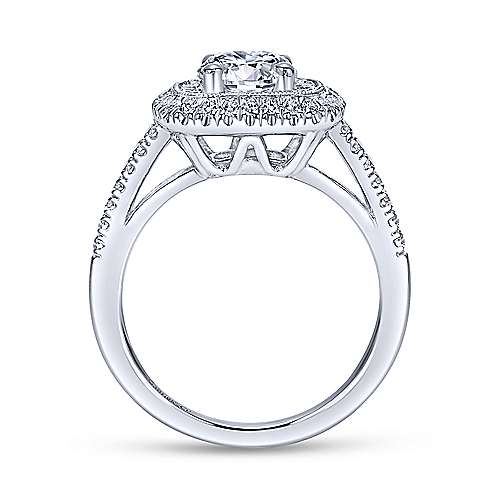Antoinette 14k White Gold Round Double Halo Engagement Ring angle 2