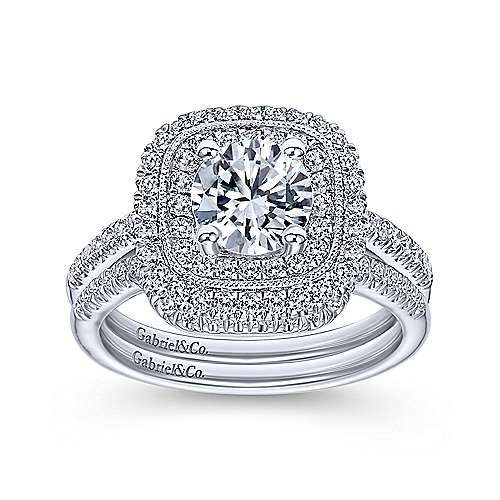 Antoinette 14k White Gold Round Double Halo Engagement Ring angle 4