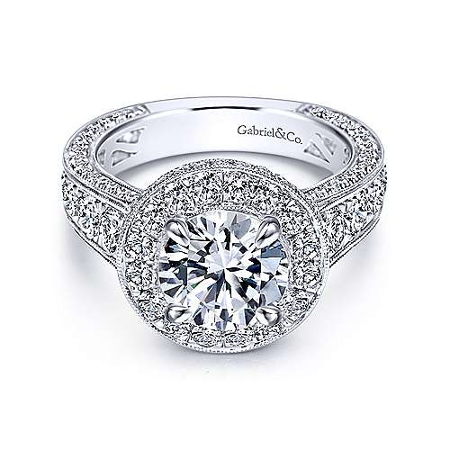 Gabriel - Antonia 18k White Gold Round Halo Engagement Ring