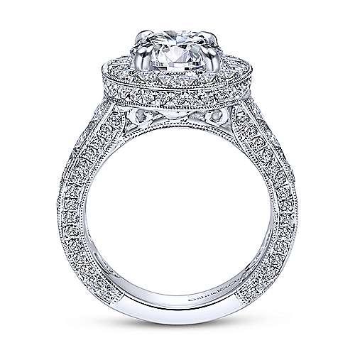 Antonia 18k White Gold Round Halo Engagement Ring angle 2