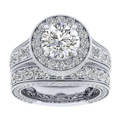 Antonia 18k White Gold Round Halo Engagement Ring angle 4
