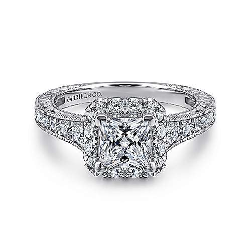 Gabriel - Anya 14k White And Rose Gold Princess Cut Halo Engagement Ring
