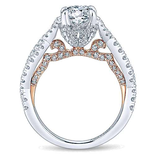 Aqua 18k White And Rose Gold Round Twisted Engagement Ring angle 2