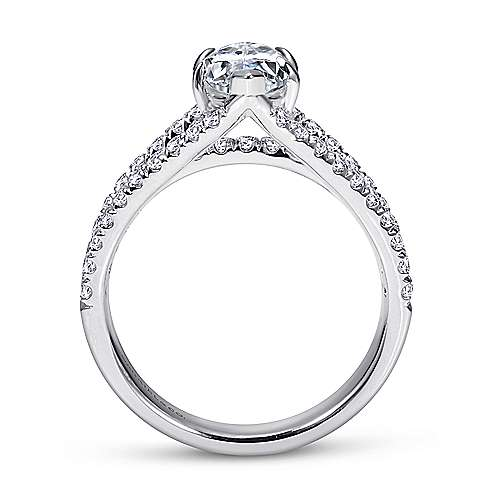 Aquila 14k White Gold Marquise  Split Shank Engagement Ring angle 2