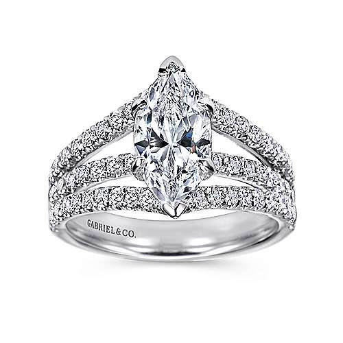 aquila 14k white gold marquise split shank engagement ring angle 5 - Marquise Wedding Rings