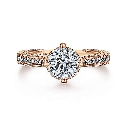 Gabriel - Arabella 14k Rose Gold Round Straight Engagement Ring