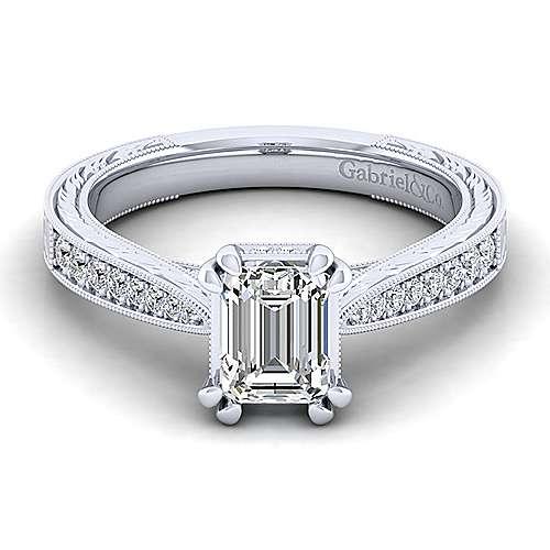 Gabriel - Arabella 14k White Gold Emerald Cut Straight Engagement Ring