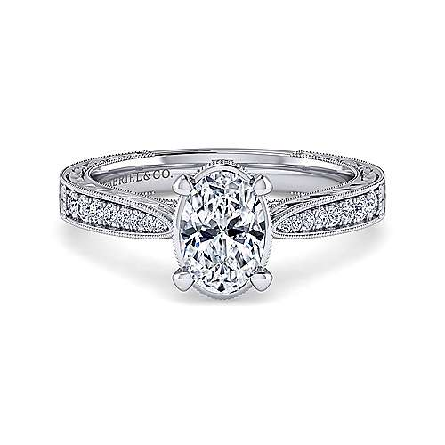 Gabriel - Arabella 14k White Gold Oval Straight Engagement Ring