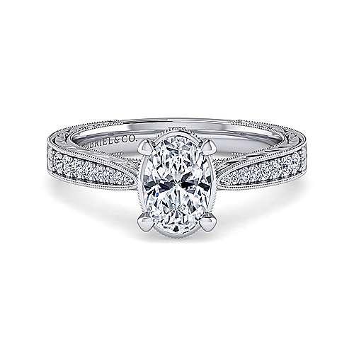 Gabriel - Arabella 14k White Gold Oval Straight Engagement Ring
