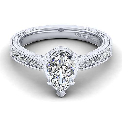 Gabriel - Arabella 14k White Gold Pear Shape Straight Engagement Ring