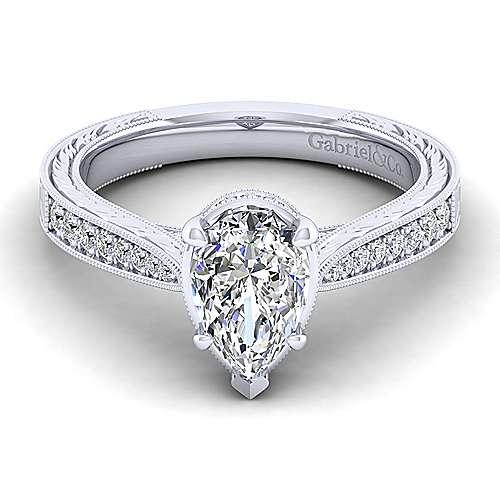 Gabriel - Arabella 14k White Gold Pear Shape Straight Engagement Ring