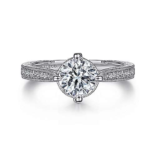 Gabriel - Arabella 14k White Gold Round Straight Engagement Ring