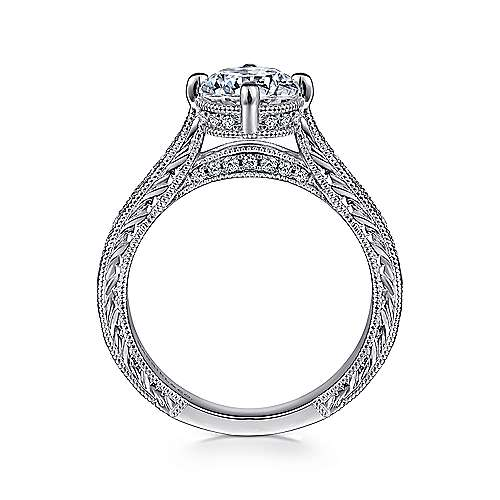 Arabella 14k White Gold Round Straight Engagement Ring angle 2