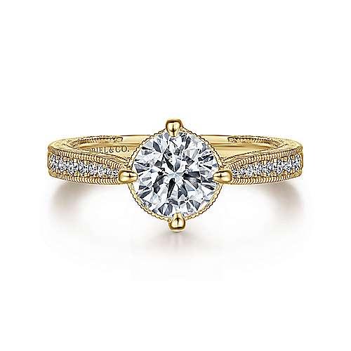 Gabriel - Arabella 14k Yellow Gold Round Straight Engagement Ring