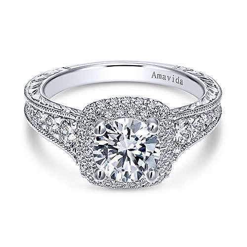 Argentina 18k White Gold Round Double Halo Engagement Ring angle 1
