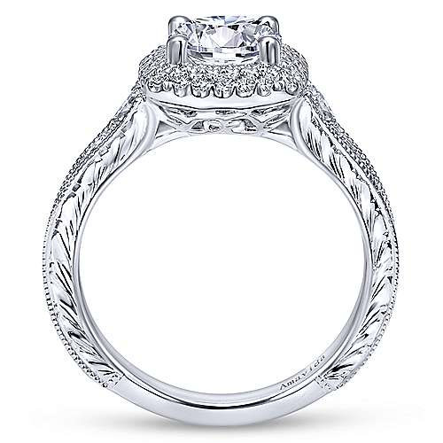 Argentina 18k White Gold Round Double Halo Engagement Ring angle 2