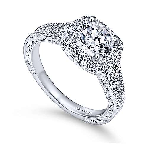 Argentina 18k White Gold Round Double Halo Engagement Ring angle 3