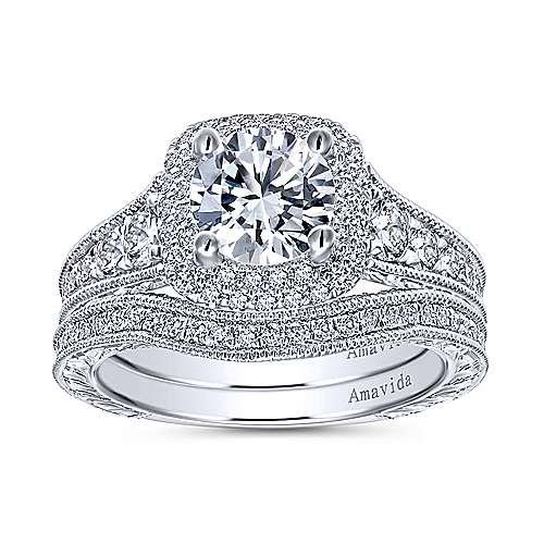Argentina 18k White Gold Round Double Halo Engagement Ring angle 4