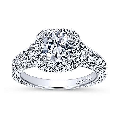 Argentina 18k White Gold Round Double Halo Engagement Ring angle 5