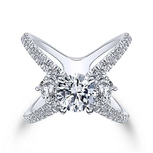 Aria 18k White Gold Round 3 Stones Engagement Ring angle 1