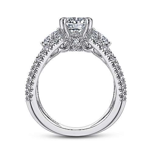 Aria 18k White Gold Round 3 Stones Engagement Ring angle 2