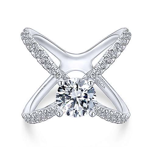 Gabriel - Aria 18k White Gold Round Split Shank Engagement Ring
