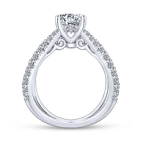 Aria 18k White Gold Round Split Shank Engagement Ring angle 2