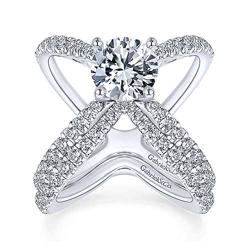 Aria 18k White Gold Round Split Shank Engagement Ring angle 4