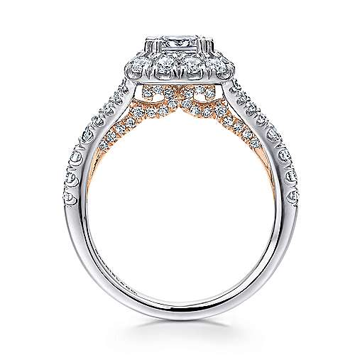 Ariana 14k White And Rose Gold Cushion Cut Halo Engagement Ring angle 2