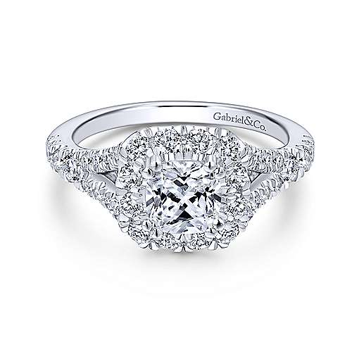 Gabriel - Ariana 14k White Gold Cushion Cut Halo Engagement Ring