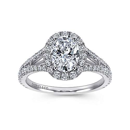 Ariane 18k White Gold Oval Halo Engagement Ring angle 5