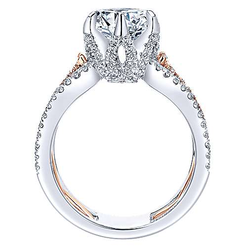 Ariel 18k White/pink Gold Round Twisted Engagement Ring angle 2