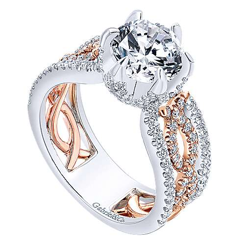 Ariel 18k White/pink Gold Round Twisted Engagement Ring angle 3