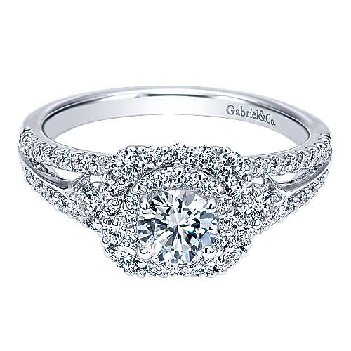 Gabriel - Arletta 14k White Gold Round Double Halo Engagement Ring