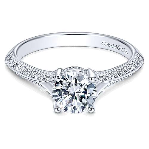 Gabriel - Arlo 14k White Gold Round Split Shank Engagement Ring