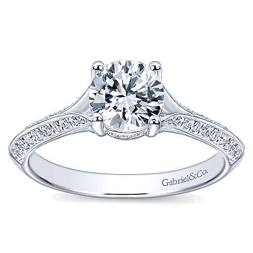 Arlo 14k White Gold Round Split Shank Engagement Ring