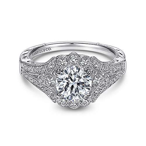 Gabriel - Armada Platinum Round Halo Engagement Ring