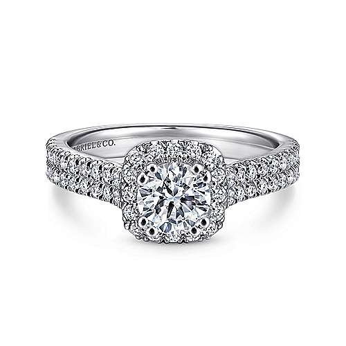 Gabriel - Armina 14k White Gold Cushion Cut Halo Engagement Ring
