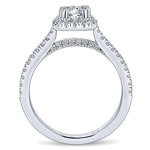 Armina 14k White Gold Cushion Cut Halo Engagement Ring angle 2