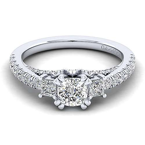 Gabriel - Arnica 14k White Gold Cushion Cut 3 Stones Engagement Ring
