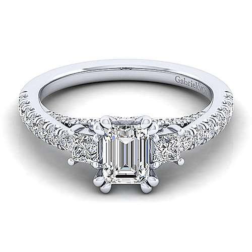 Gabriel - Arnica 14k White Gold Emerald Cut 3 Stones Engagement Ring