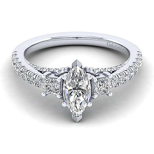 Gabriel - Arnica 14k White Gold Marquise  3 Stones Engagement Ring