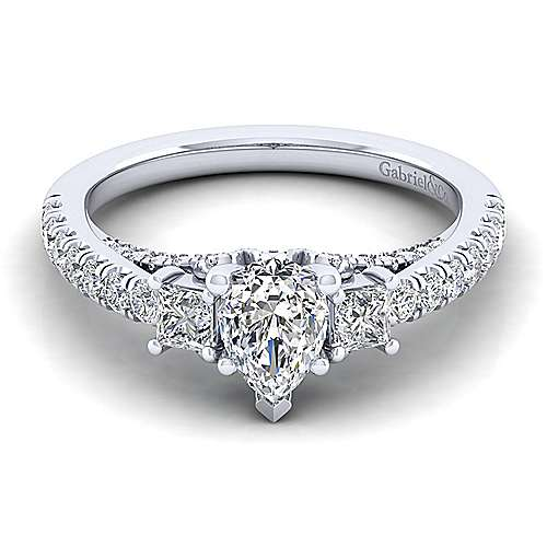 Gabriel - Arnica 14k White Gold Pear Shape 3 Stones Engagement Ring