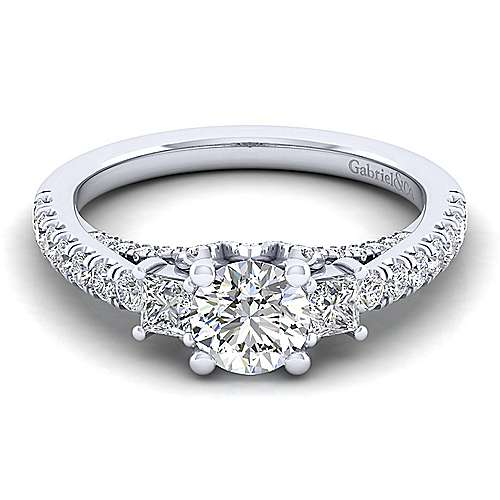 Gabriel - Arnica 14k White Gold Round 3 Stones Engagement Ring