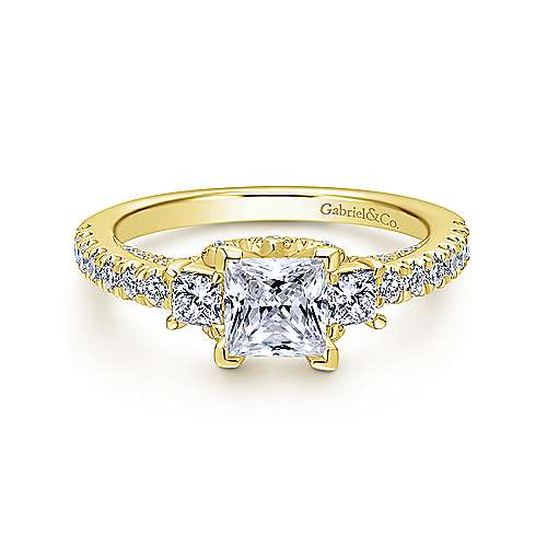 Gabriel - Arnica 14k Yellow Gold Princess Cut 3 Stones Engagement Ring