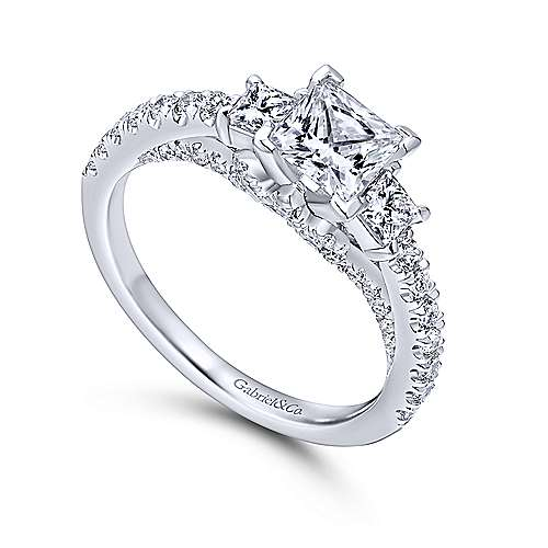 Arnica 18k White Gold Princess Cut 3 Stones Engagement Ring angle 3
