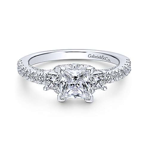 Gabriel - Arnica Platinum Princess Cut 3 Stones Engagement Ring