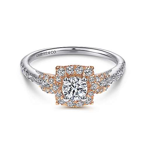 Gabriel - Art 14k White And Rose Gold Round Halo Engagement Ring