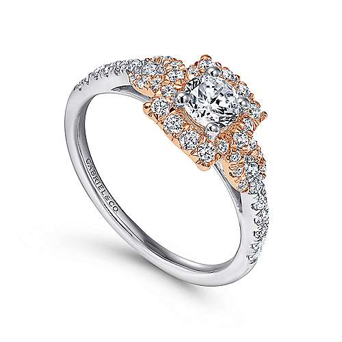 Art 14k White And Rose Gold Round Halo Engagement Ring angle 3